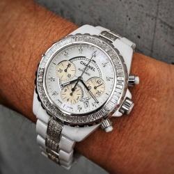時計アフターダイヤ シャネルJ12クロノ フルダイヤモンド