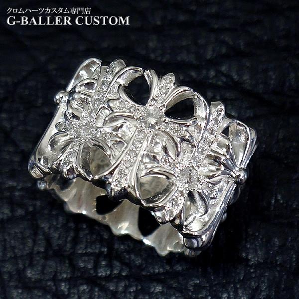 画像1: クロムハーツリング ダイヤカスタム セメタリークロス パヴェダイヤ