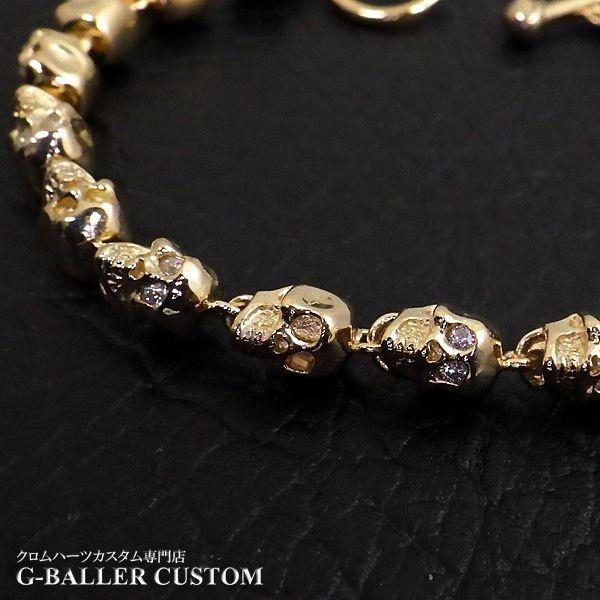 画像2: ガラード スカル 金 ブレスレット ダイヤ カスタム