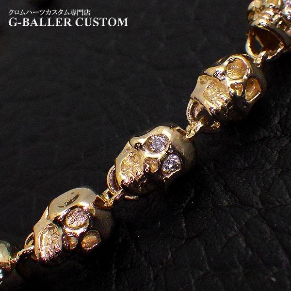 画像3: ガラード スカル 金 ブレスレット ダイヤ カスタム